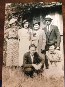 The olden days...Mom with Aunt Robbie, Aunt Sara, Uncle Ernest, Grandma and Grandpa. Mom is bottom right. Such a beauty.