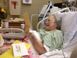 Enjoying cards from her Space People. The whole hospital now knows Mom is a celebrity. :))