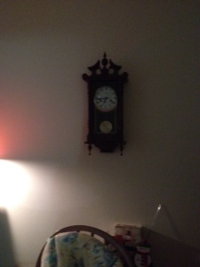 The blasted clock that never shows or chimes the right time...but that Mom loves so much.