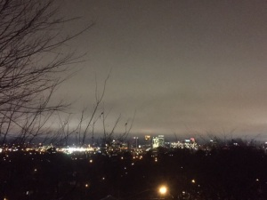 A blanket of fog settled over the city tonight...