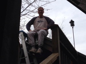 The roof doesn't scare him either...my phone stays set to dial 911.