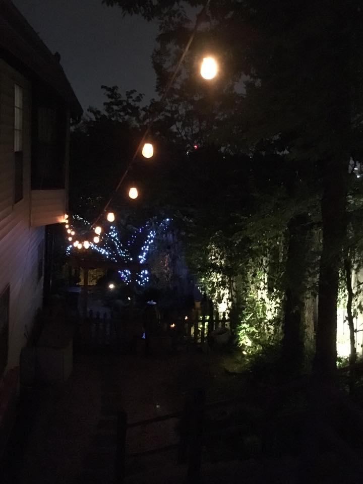 side yard at night